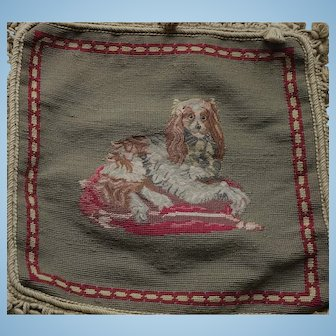 ANTIQUE TAPESTRY of King Charles Spaniel Dog in Wool with PetitPoint now in Cushion Form