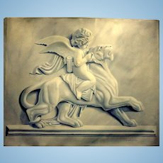ALAN WESTON - Monumental Trompe l'oeil Painting of a Bas Relief Marble Carving of Cupid Riding a Panther - 46 by 39 inches