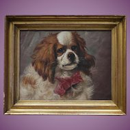 IRRESISTIBLE Antique French Cavalier King Charles Spaniel Dog Oil Painting on Paper c. 1870