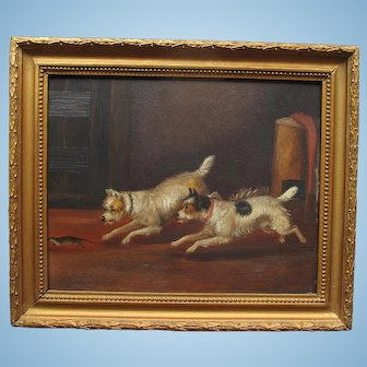 Antique English Victorian Oil Painting of Two Terrier Dogs