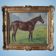 Antique English Oil Painting of a Race Horse 'Loyal Irish' by George [Geo] Paice 1854-1924