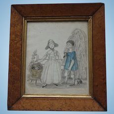 CHARMING Antique Georgian Watercolour Painting and Prickwork Pinwork of Two Childen and Cats Pin Work Prick Work