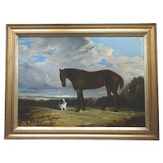 Antique English Oil Painting of a Spaniel and a Horse circa. 1820-60