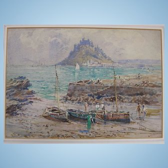C.1900 Watercolour Painting of Mont St Michel, in France by Riley English