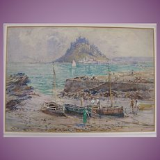 VACATION SALE - 35% OFF!! C.1900 Watercolour Painting of Mont St Michel, in France by Riley