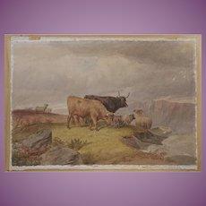 VACATION SALE -35% !!!! James Walsham Baldock (1822-1898) Scottish Highland Cattle and Sheep Watercolour Watercolor Painting English