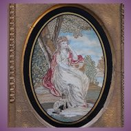 GEORGIAN Silkwork Silk Work Embroidery of a LADY and her DOG c. 1780-1820 English BRIGHT Colour !!- NO SPLITS!