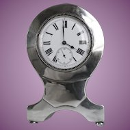 VACATION SALE - 35% !!!! Lovely Compact ( 4 1/2 inch tall) Balloon Form Silver Clock Hallmarked Birmingham England 1905