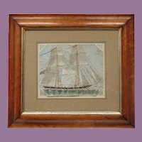 Antique English  Watercolor Painting  Clipper Ship  'Anne of Gierstein' Maple Frame by W Hopkins Watercolour
