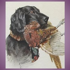 VACATION SALE -35% !!!! Antique Painting of Labrador Dog Retriever + Pheasant Watercolour Watercolor