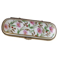 Lovely Hand Painted Limoges Pin/Trinket Box from Dubarry - Flowers Floral