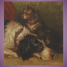 Antique English Oil Painting of a Small Terrier Dog and his Sheep Dog Friend