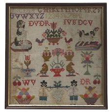 UNFADED English Antique Embroidered Tapestry Sampler with Two Dogs