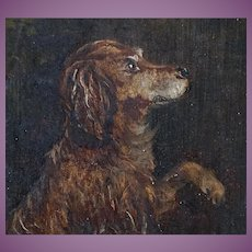 ADORABLE Antique English Oil Painting of a Dog Raising an Optimistic Paw Dated - 1885