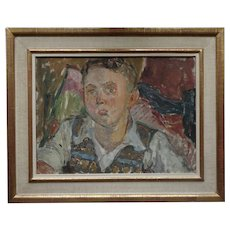 Iconic 1940s 1950s Portrait of a Young School Boy Modern English by Clive Gardiner Head of Goldsmiths