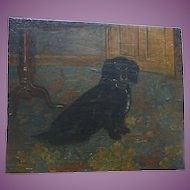 CHARMING English Antique Naive Oil Painting of a Spaniel Dog