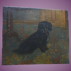 VACATION SALE -35% !!!! CHARMING English Antique Naive Oil Painting of a Spaniel Dog