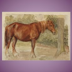 Watercolour Painting Study of a Heavy Working Horse by Harry Fidler, ROI, RBA British (1856-1935)