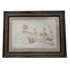 Antique c.1790 English Georgian Sanguine Stipple Engraving of Children, Dog and Maidens  with Original Hogarth Frame