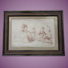 Antique c.1790 English Georgian Sanguine Stipple Engraving of Children, Dog and Maidens  with Original Hogarth Frame
