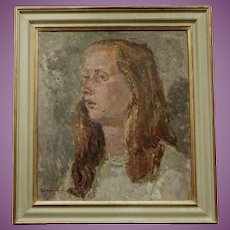 Portrait Study of a Young Lady  Clive Gardiner 1891-1960 English Oil Painting Head of Goldsmiths Art College London