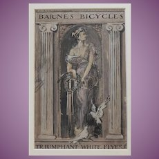 VACATION SALE  -35% !!!!! Painting of 1899 Catalogue for Barnes Cycles of Syracuse - the RARE White Racer Bicycle Cycle