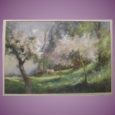 1920s Watercolour Watercolor Painting of a Horse Grazing in an English  Blossom Orchard by Adela Stobart. fl.1920-30
