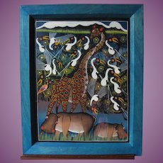 Naive East African Tinga Tinga School Painting by Fussi 1970s/80s Framed and Glazed