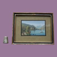 Antique Miniature Painting c.1850-90 - European Lakes with a Schlöss Ideal for your DOLL POUPÉE Watercolour Watercolor