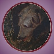 Oil Painting on Card/Paper of a Wolfhound, Deerhound/Lurcher Hound Dog 1930s-50s