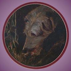 VACATION SALE -35%!!!! Oil Painting of a Wolfhound, Deerhound/Lurcher Hound Dog 1920s-50s