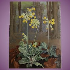 Spring Cowslips Flowers Oil Painting on Board 1943 by Heda Armour English