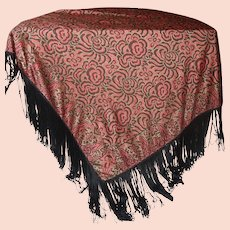 EXQUISITE Vintage 1930s/40s English Silk Shawl 48 inches square PLUS 10 inche Fringe in TRULY EXCELLENT Condition