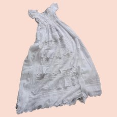 Antique English Ayrshire Scottish Christening Robe - Lace and Embroidery and Flounce - Dolls Party Dress!