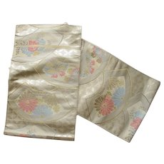 Vintage Traditional Japanese Obi with Fans and Butterflies