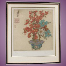 VACATION SALE - 35% !!! Bonsai Blossom Tree Elyse Ashley Lord 1900-1971 DryPoint Print 99/100 Signed in Pencil