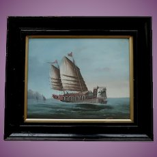 Antique Chinese Gouache Painting of a Junk Ship Fishing Bird Cormorant