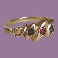 Lapis, Ruby and 18ct Gold Ring Estate c. 1900 Antique English