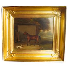 35% off VACATION offer - Oil Painting of Terrier Dog & Horse English Antique Georgian