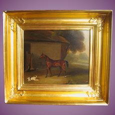 Painting in oils of Terrier Dog & Horse English Antique Georgian