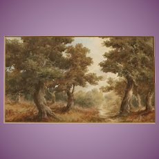 PAIR (only one shown in gall) Oil Paintings of English Woods in Summer Antique