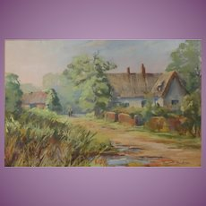 Pastel of an English Country Village Scene Countryside Mid Century Excellent Condition Elizabeth Gardiner