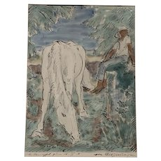 German 1924 Pen Ink and Wash of a Horse and Figure Indistinctly Signed