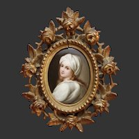 Hand Painted Porcelain Plaque - Portrait of a Lady -  Florentine Gilt Hand-Carved Frame 19th Century