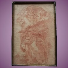 Antique Drawing of Two Cherubs/Putti/ with a Donkey in red chalk, 18th, early 19th Century