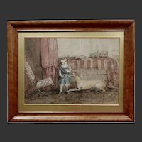 Antique English Naive Watercolour Watercolor of Child and Greyhound Dog in Maple Frame