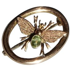 Antique Pin Brooch of a Bug, Insect in 9ct Gold and Bright Green Peridot
