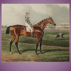 ORIGINAL 1843 Horse Racing Print of MEMNON Winner of the St Ledger in 1825 Painted by Herring Engraved by Sutherland Antique