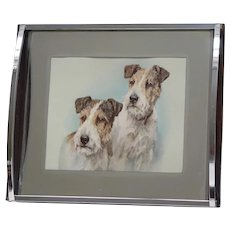 Art Deco Drinks Tray with Wire-Haired Fox Terrier Dogs