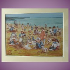Australian 'Edwardian' Beach Scene  Painting by Well-Listed Australian Artist Gerard Lants Lantz 1927-1998
